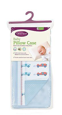 Clevamama Replacement Baby Pillow Case Blue Airtech Reversible Side New