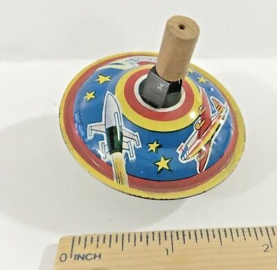Vintage 1960S Tin Toy Futuristic Space Travel Spinning Top Japan Rocket Ufo Nm!!