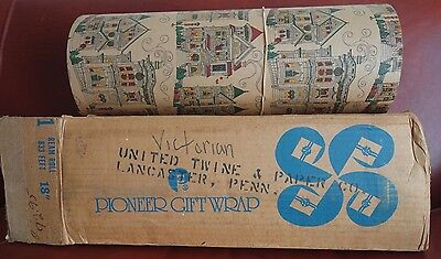 "Antique Pioneer Gift Wrap 833 ft 18"" Rim Roll United Twine & Paper Lancaster PA"