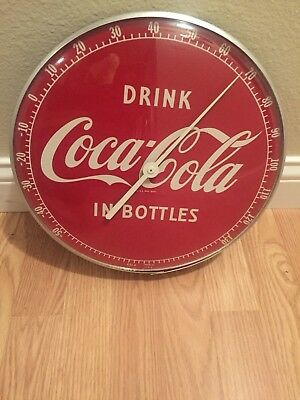 Vintage 1950's Glass Face Coca Cola Thermometer MINT