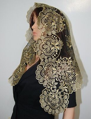 Gold on Black Mesh Spanish style veils and mantilla