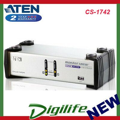 Aten 2 Port USB Dual-View KVMP Switch w/ USB Hub & Audio - Cables Included