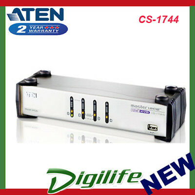 Aten 4 Port USB Dual-View KVMP Switch w/ USB Hub & Audio - Cables Included