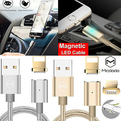 MCDODO Magnetic LED Lightning Cable Sync Data USB Charger F iPhone X 7 8 Plus 6s
