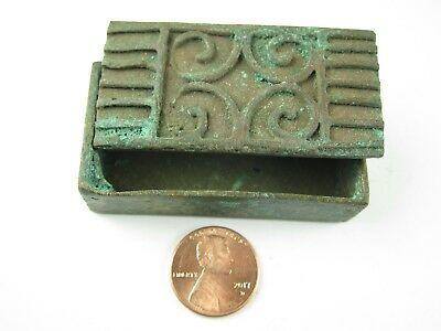 Lovely African Tribal Rare Antique Akan Ashanti Cast Bronze Gold Dust Box