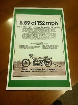 Vintage 1978 Kawasaki KZ1000 Denco Drag Bike Poster Ad Home Decor Art Man Cave