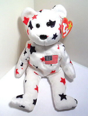 Rare Ty Beanie Baby Glory Independence 1997 1998 Bear With Errors Original  Tags f8ec8c160ae5