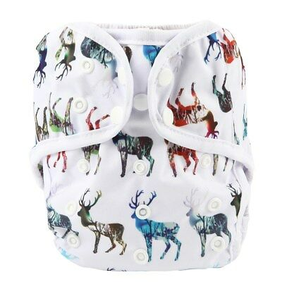 Baby Diaper Cover Nappy Cover Double Gussets Reusable One Size Deer