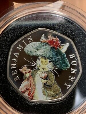 2017 Benjamin Bunny Coloured Silver Proof 50p Coin Limited Edition with COA Rare