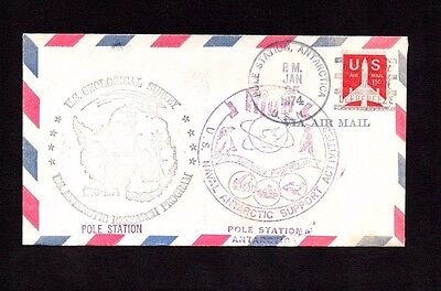 United States 1974 Cover Postmarked Pole Station Antarctica