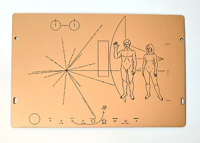 Full size replica of NASA Pioneer Plaque, laser etched on golden laminate