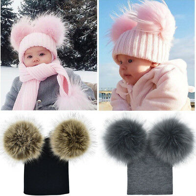 Newborn Baby Boy Girls Winter Warm Double Fur Pom Bobble Knit Beanie Hat Cap UK
