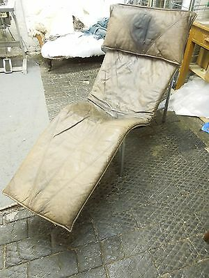 Mid Century Vintage Brown Leather Chaise Longue by Tord Bjorklund (Swedish)