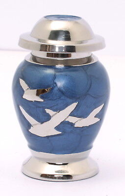 Mini Keepsake Urn For Ashes, Small Cremation Funeral Memorial Blue Birds Token