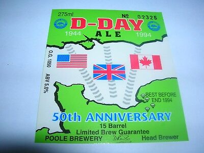 POOLE  Brewery  D-DAY  Ale  50th Anniversary  1944 - 1994