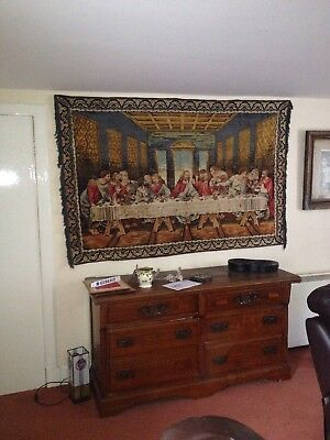 Unusual festive Christmas gift. 1960's Last Supper Wall Tapestry. Very Large