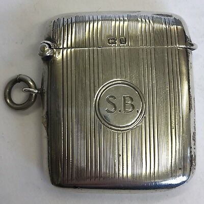 "Antique Solid Silver Vesta Case 1919 W H Haseler 50mm X 50mm ""S.B."""