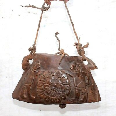 1940's Old Beautiful Handmade Flower & Human Carved Big Wooden Elephant Bell