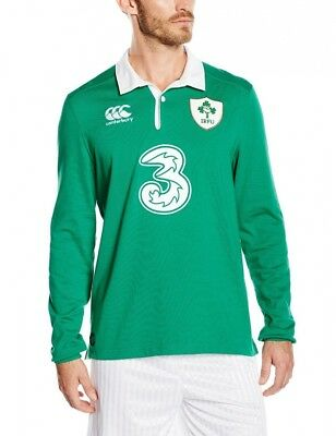 (Small, Green) - Canterbury Men's Ireland Home Classic Long Sleeve Rugby Jersey