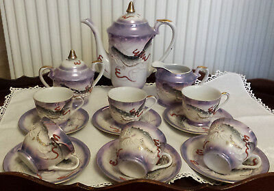 Japanese Lilac Lustre Gilded Moriage Dragon Ware 15 Piece Coffee Set 6 Settings