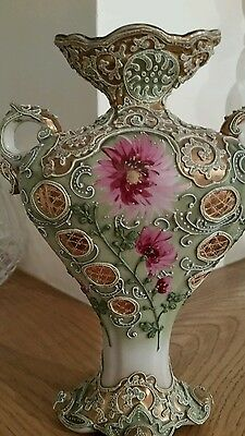 Stunning Antique Nippon Moriage Hand Painted Vase