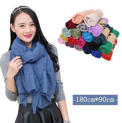 New Women Plain Linen Scarf Wrap Shawl Stole Cotton Scarves 20 Solid Colors