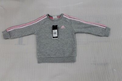 Infant Girl's Adidas Fleece Full Tracksuit Pink / Grey