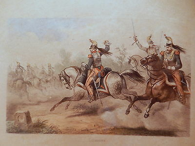 Engraving antique lithography Spoiler freres cuirassiers soldier empire french