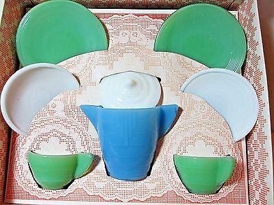 Vintage Akro Agate Concentric Rings Child's Tea Set in Original Box