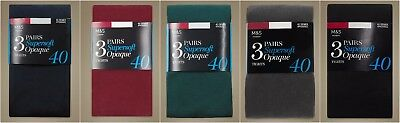 -% NEW M&S 3 PACK 40 Denier Supersoft Opaque Tights  6 COLORS S M L XL
