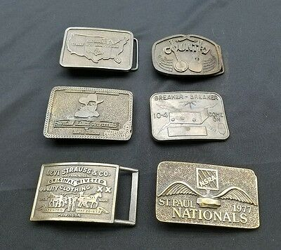 Vintage Lot of 6 Belt Buckles NSRA Country North Dakota Breaker-Breaker Levi