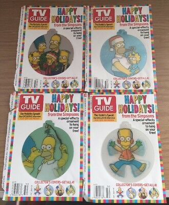 4 Tv Guide 2004 The Simpsons Holiday 3D Ornament Cover Set Bart Homer Family