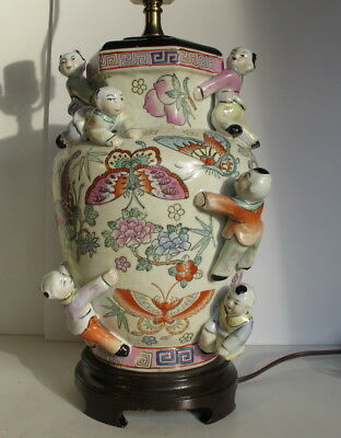 "Beautiful Chinese Famille Rose 7 Children Vase Lamp 27"" tall"
