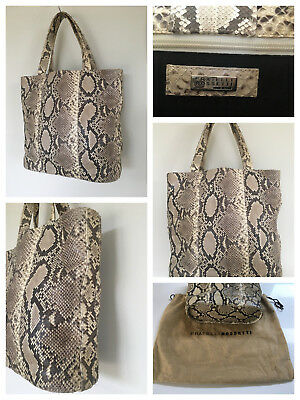 FRATELLI ROSSETTI Genuine Python Vintage Handbag.Truly Excellent. Ship Worldwide