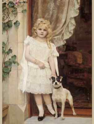 Postcard: Vintage print repro - Little Girl with Terrier - My Best Friend