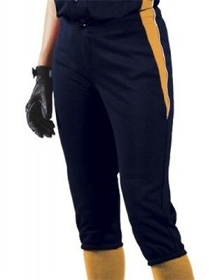 (Large, Navy/Gold/White) - Girls' Changeup Softball Pant. Teamwork