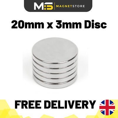 SUPER STRONG Neodymium Disc Magnets 20mm x 3mm N52 Rare Earth Magnets - LARGE