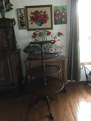 19Th Century Antique Carved Mahogany 4 Tier Dumb Waiter, Butler Table