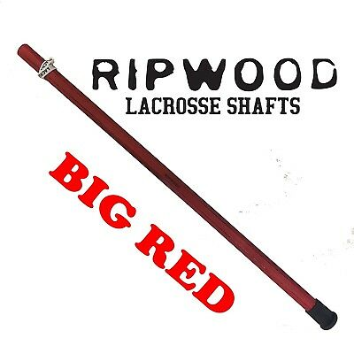(Red) - RipWood Solid Wood (Ash) Attack Lacrosse Shaft / Stick (made by hand