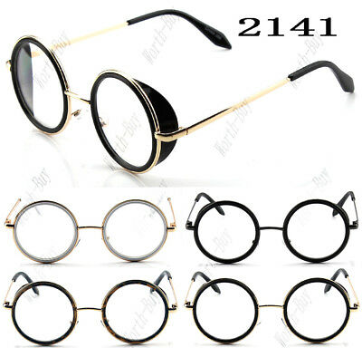 New Funky Fashion Clear Lens Round Glasses Frame Mens Womens Hipster Steampunk