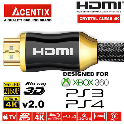 HIGHSPEED GOLD PLATED HDMI CABLE 4K @ 60HZ 4096 x 2160p HDR XBOX 360 PS3 4 3D TV