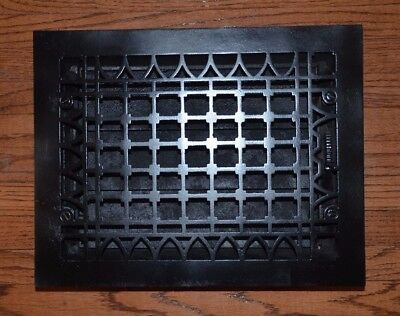 Antique Register Heat Vent Grate - Cast Iron - Newly Cleaned And Painted- Black