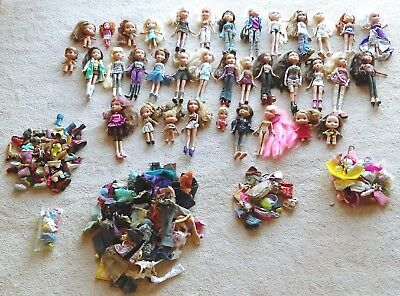 Bratz Dolls Lot, Clothing, Shoes, and Accessories. 36 Dolls.  Over 400 pcs.