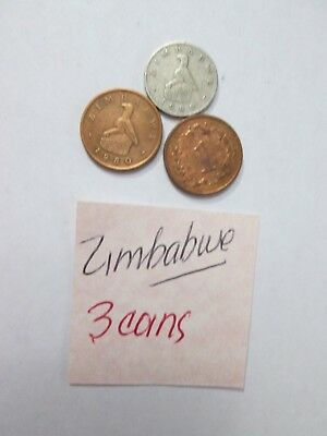 ZIMBABWE, 3 Coins,   2-1 cent & 1-5 cent coins, dates vary, Circulated condition