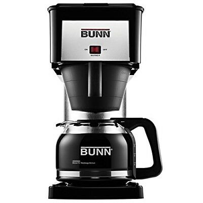 BUNN-O-MATIC 10 Cup Black & Stainless Steel Coffee Brewer with Glass Carafe