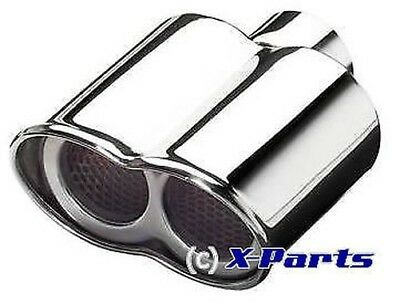 End pipe Stainless Steel Glasses Twin Round with Abe Audi VW BMW