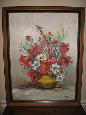 Lovely Maude Schneller Original Floral Still Life Framed Oil On Canvas Painting