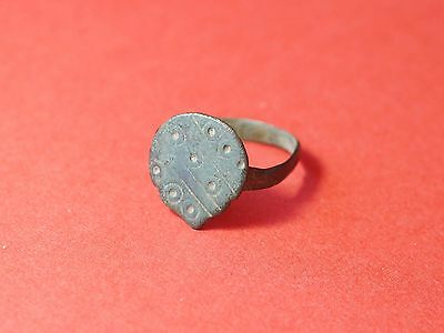 Ancient Roman Bronze Ring with Beautiful Decorations 1815H