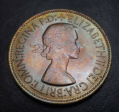 Toned 1953 Great Britain Penny | High Grade - Luster