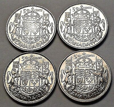 4 Canadian 50 Cents, 1941, 1943, 1944, 1946, Very Nice Coins!